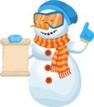 Snowman Cartoon Vector Character - Sign 2