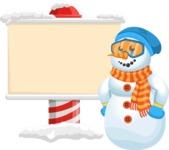 Snowman Cartoon Vector Character - Sign 6