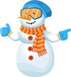 Snowman Cartoon Vector Character - Point