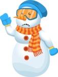 Snowman Cartoon Vector Character - GoodBye