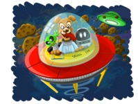 Universe Vectors - Mega Bundle - Dog Riding a Spaceship in Space