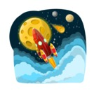 Universe Vectors - Mega Bundle - Rocket Flying Into Space