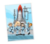 Space: We Are Not Alone - Astronauts Postage Stamp