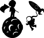 Spacemen Silhouettes in Space