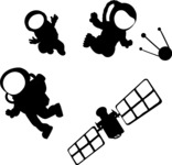 Floating Astronauts Silhouettes