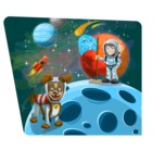 Astronaut and Dog on the Moon