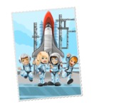 Astronauts Postage Stamp
