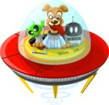 Dog Riding an Alien Spaceship