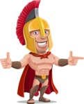 Spartan Warrior Cartoon Vector Character AKA Nikos - Point 2