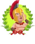 Spartan Warrior Cartoon Vector Character AKA Nikos - Shape 1
