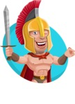 Spartan Warrior Cartoon Vector Character AKA Nikos - Shape 3