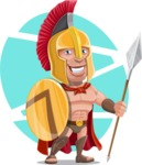 Spartan Warrior Cartoon Vector Character AKA Nikos - Shape 6