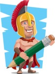 Spartan Warrior Cartoon Vector Character AKA Nikos - Shape 8
