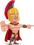 Spartan Warrior Cartoon Vector Character AKA Nikos - Direct Attention