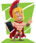 Spartan Warrior Cartoon Vector Character AKA Nikos - Shape 11