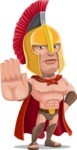 Spartan Warrior Cartoon Vector Character AKA Nikos - Stop