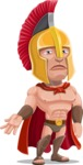 Spartan Warrior Cartoon Vector Character AKA Nikos - Sad