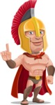 Spartan Warrior Cartoon Vector Character AKA Nikos - Attention