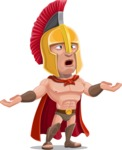 Spartan Warrior Cartoon Vector Character AKA Nikos - Confused