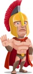 Spartan Warrior Cartoon Vector Character AKA Nikos - Goodbye