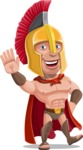 Spartan Warrior Cartoon Vector Character AKA Nikos - Hello