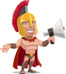 Spartan Warrior Cartoon Vector Character AKA Nikos - Loudspeaker