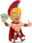 Spartan Warrior Cartoon Vector Character AKA Nikos - Show me the money