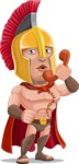 Spartan Warrior Cartoon Vector Character AKA Nikos - Support