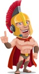 Spartan Warrior Cartoon Vector Character AKA Nikos - Support 2