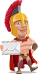 Spartan Warrior Cartoon Vector Character AKA Nikos - Letter