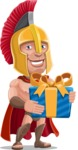 Spartan Warrior Cartoon Vector Character AKA Nikos - Gift