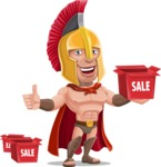 Spartan Warrior Cartoon Vector Character AKA Nikos - Sale