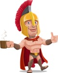 Spartan Warrior Cartoon Vector Character AKA Nikos - Coffee