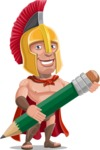 Spartan Warrior Cartoon Vector Character AKA Nikos - Pencil