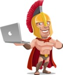 Spartan Warrior Cartoon Vector Character AKA Nikos - Laptop 1