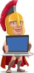 Spartan Warrior Cartoon Vector Character AKA Nikos - Laptop 2