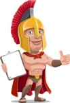 Spartan Warrior Cartoon Vector Character AKA Nikos - Notepad 1