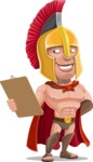Spartan Warrior Cartoon Vector Character AKA Nikos - Notepad 2