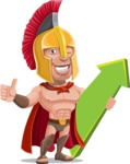 Spartan Warrior Cartoon Vector Character AKA Nikos - Pointer 1