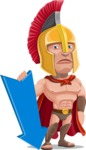 Spartan Warrior Cartoon Vector Character AKA Nikos - Pointer 3