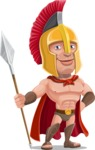 Spartan Warrior Cartoon Vector Character AKA Nikos - Spear 1