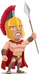 Spartan Warrior Cartoon Vector Character AKA Nikos - Spear 3