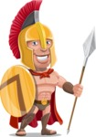 Spartan Warrior Cartoon Vector Character AKA Nikos - Spear and Shield 1