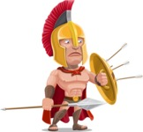 Spartan Warrior Cartoon Vector Character AKA Nikos - Spear and Shield 2