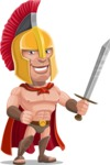 Spartan Warrior Cartoon Vector Character AKA Nikos - Sword 1