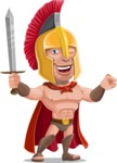 Spartan Warrior Cartoon Vector Character AKA Nikos - Sword 2