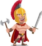 Spartan Warrior Cartoon Vector Character AKA Nikos - Sword and Axe