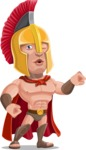 Spartan Warrior Cartoon Vector Character AKA Nikos - Flexing