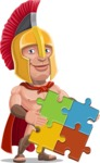 Spartan Warrior Cartoon Vector Character AKA Nikos - Puzzle