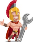 Spartan Warrior Cartoon Vector Character AKA Nikos - Repair